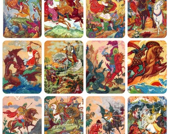 Russian Tales, Bylinas (Palekh). Set of 12 Vintage Postcards -- 1965