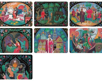 K. Bokarev (Palekh) -- Various Tales. Set of 7 Prints, Postcards -- 1985