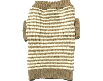 Designer Dog Sweater, Small Brown and White Striped Knit Handmade Pet Puppy Apparel Clothes 0014