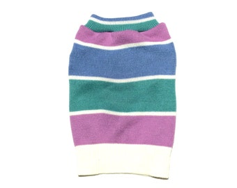 Designer Dog Sweater, Small Blue, Green and Purple Striped Handmade Pet Puppy Apparel Girl Dog Clothes 0021