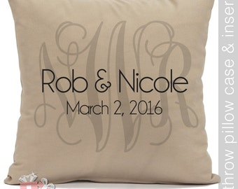 wedding throw pillow - couples monogram, names and wedding dates - perfect wedding or bridal shower gift