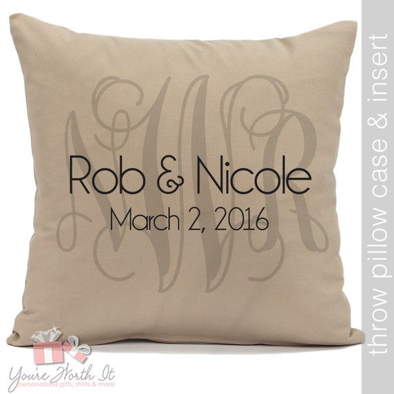 Wedding Throw Pillow Couples Monogram Names And Wedding