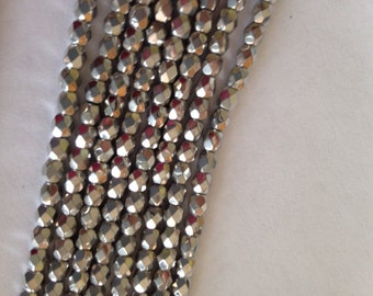 Czech Glass Faceted Round Metallic silver 4mm  - Fire Polished