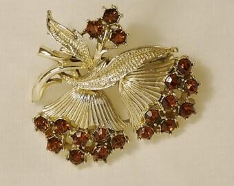 Vintage Amber Rhinestone Brooch Pin