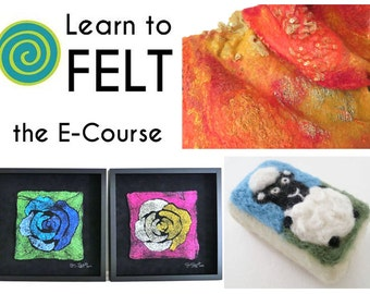 Learn To Felt E-Course, Felting E-Course, Nuno Felting E-Course, Wet Felting E-Course, Online Felting Class, Learn To Felt, Felting Tutorial