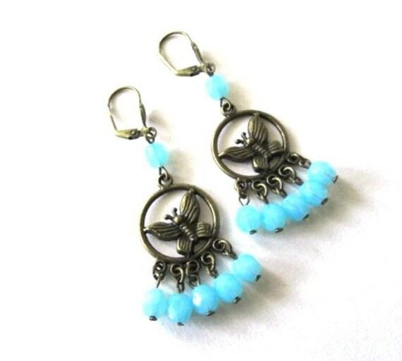 Baby blue earrings butterfly earrings antique brass bronze