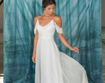 Modern Simple V-Neck Wedding Dress, Alternative Destination Wedding Dress, Chiffon A-line wedding dress Low Back eco friendly