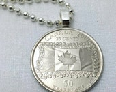 Canada necklace - Canadian flag jewelry - Canada 25 cents coin necklace - 50th anniversary - commemorative coin