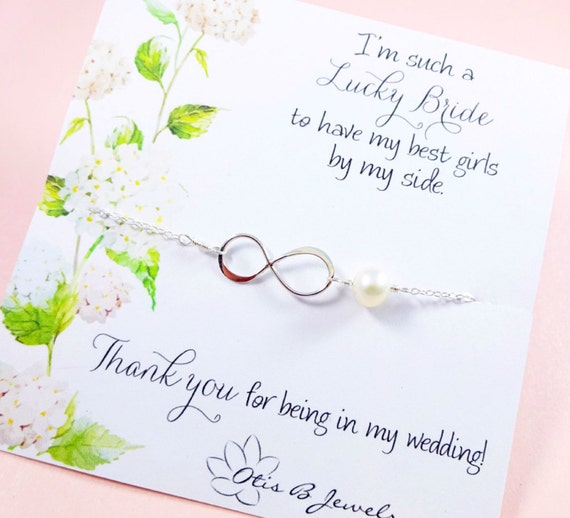 Bridesmaid gifts set of THREE silver INFINITY NECKLACES & Thank you cards, bridesmaid jewelry, bridal Jewelry, Pearl necklaces, otis b