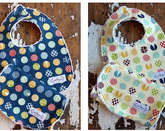 Chenille Baby Bib & Burp Set - Gender Neutral - Tee Time Polka Dot in Navy OR Yellow