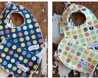 Chenille Baby Bib & Burp Set - Gender Neutral - Tee Time Polka Dot in Navy OR Yellow