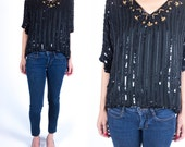 Vintage 1980s Black and Gold Sequin Beaded Art Deco Style V Neck Dolman Short Sleeve Blouse Size S
