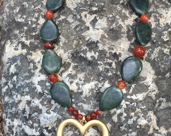 Jade Necklace, Carnelian Necklace, Gemstone Necklace, Chunky Necklace, Gold Heart Pendant