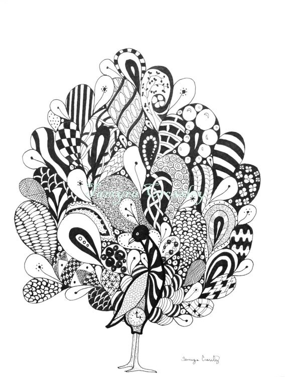 articles similaires zentangle paon original art plume et. Black Bedroom Furniture Sets. Home Design Ideas