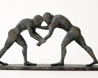 Wrestling Sculpture, Bronze Greek Athletes Statue, Ancient Greece Olympic Games, Wrestlers, Metal Sculpture, Art Decor, Museum Replica