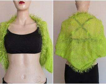 Plus Size Summer Bolero Womens Bolero, Soft Knit  Lime Green Bolero Shrug Sleeves Jacket, Evening Bolero, JacketWeddings, Bridal, Bridesmaid