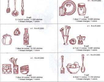 5x7 redwork vintage kitchen formats are pes,jef,vp3,hus,dst