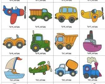 20 cute transportation designs for 4x4 hoop.Downloadable zip or cd is available.
