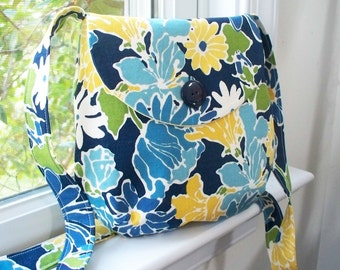 Small Cross Body Bag Purse Handbag in Yellow and Blue Floral Flowered Print