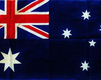 Vintage Towel, Linen Kitchen Towel, Red White Blue, Australian Flag, Souvenir Towel, Tea Towel, Unused