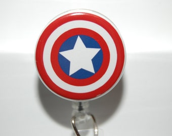 Retractable Badge/ ID Holder Captain America Shield with Alligator or Belt Clip by Hot Headz
