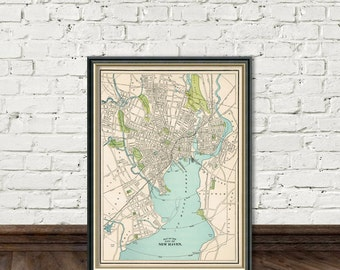 New Haven map -  Vintage map of New Haven  - Fine giclee print -