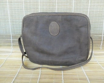 Vintage Small Size Dark Brown Faux Leather Shoulder Strap Bag