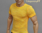 1/6th scale yellow T-shirt for: one sixth scale action figures and male fashion dolls