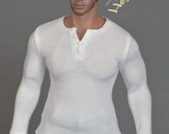 1/6th scale white XXL henley shirt for Hot Toys TTM 20 size bigger figures and dolls