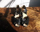r e s e r v e d 1970s does 1940s / Midnight Peeptoe Sandals / Perforated Mini Wedges / US 5 1/2 / UK 3 / EU 35 1/2