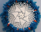 Dream catcher, blue hanging decor, needle felted feather,  turquoise and orange, doilie dream catcher