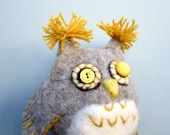 Felted owl, soft sculpture, home decor, woodland nursery, shelf sitter, needle felted, gray and yellow, large plush, bird art