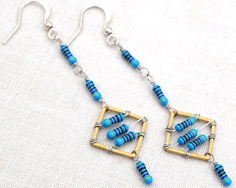 4th July Wearable Technology Tech Jewelry Computer Earrings Petite Resistor Earrings Geometric Earrings Tiny Blue Electronics Eco Friendly