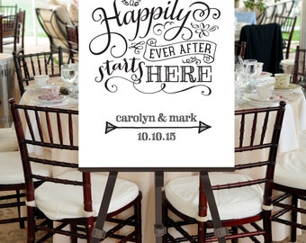 Wedding Welcome Sign Happily Ever After Illustration -- Custom Printable File -- Calligraphy Script, Black and White