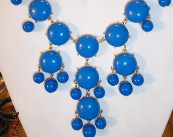 SALE Beautiful Bright Blue and Gold Bubble Necklace High Fashion, Modern, Fun, Light Weight Playful Great for the Any Month of the Year