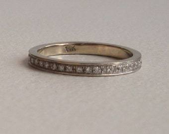 Diamond Eternity Band - Wedding Band - 14k White Gold