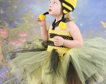 Little Diva Queen Bee Bumble Princess Tutu & Crochet Hat Costume Set for Birthday Halloween or Play Handmade 4 pieces Set