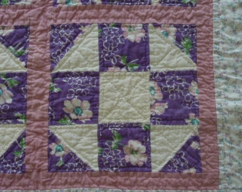 Purple Floral Feedsack Quilt