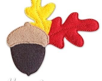 Acorn Feltie Embroidery Design, acorn feltie, acorn machine embroidery, ITH, in the hoop, 4x4, acorn, autumn, leaves, fall, leaf, seasonal