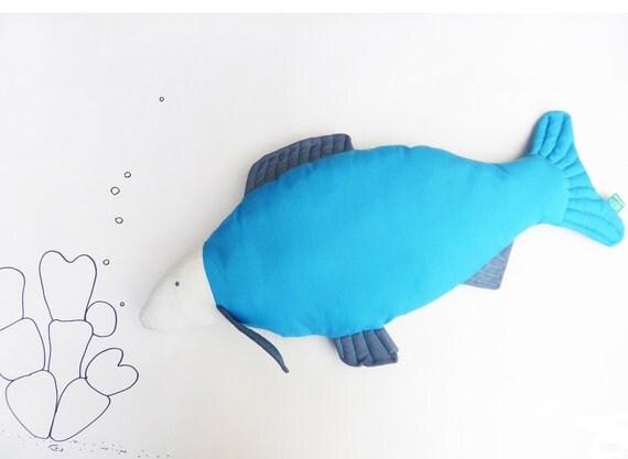 Fish salmon koi carp trout shaped turquoise blue for Fish shaped pillow