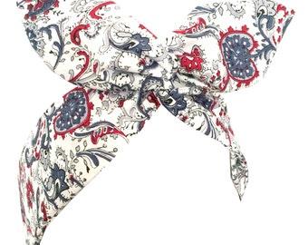 White with red, blue and grey paisley print Rockabilly Wire Headband - Bandana