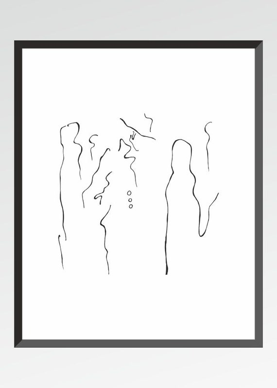 Line Drawing Etsy : Items similar to minimalist line drawing man in the crowd
