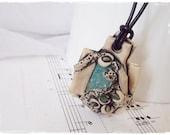 Druzy Agate Necklace, Elven Celtic Pendant, Protection Necklace, Leaf Necklace, Nordic Pendant, Wiccan Viking Necklace, Leaf Druzy Pendant