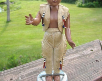 Carlson Native American Male Doll Iroquois Indian Chief 1950s Suede Dress Bead Decoration