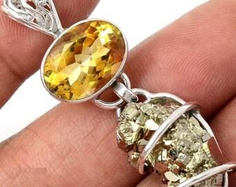 Peruvian Golden Pyrite nugget & lg Citrine in Sterling Silver Pendant