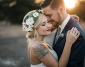 The Hadley Flower Crown-Ivory and White Flowers with Babys Breath