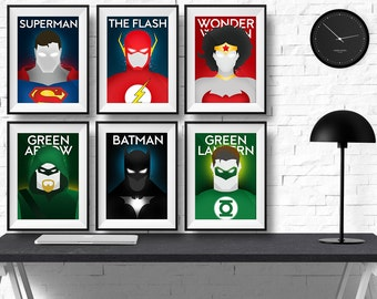 Dc Comics Wall Art superhero poster | etsy