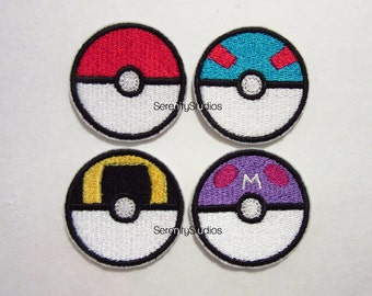 Pokeball, Greatball, Ultraball or Masterball Iron on Patch