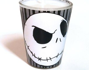 Nightmare Before Christmas Soy Candle - Jack Skellington Head Shot Glass Candle - CHOICE OF SCENT
