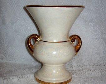 Vintage Opalescent Glaze Double Handled Vase by Pearl China Company 22kt Gold Trim Only 8 USD
